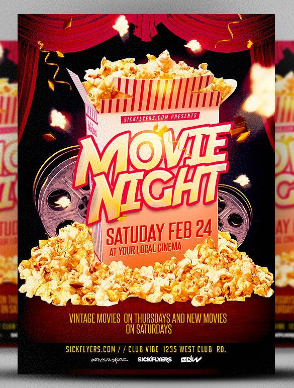 10  best movie night flyer template  u0026 psd designs