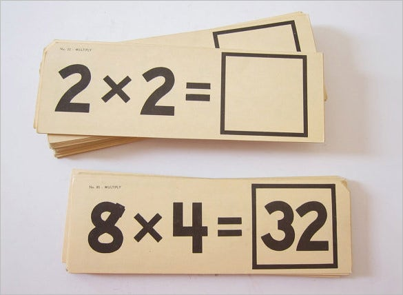 multiplication flash card