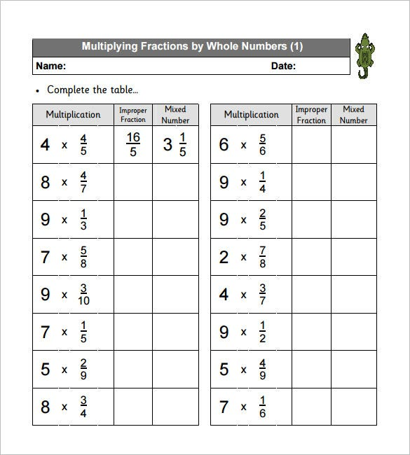 11 Multiplying Fractions Worksheet Templates Free PDF Documents – Multiplying Fractions and Whole Numbers Worksheets