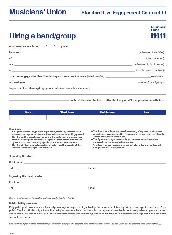 Music Band Contract Agreement Template