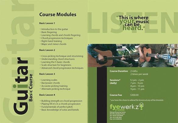 music course brochure template