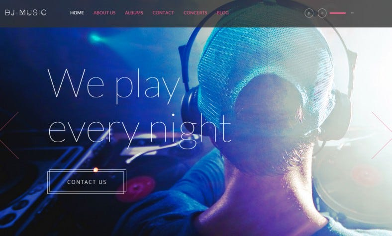 music multi one page html template 788x475