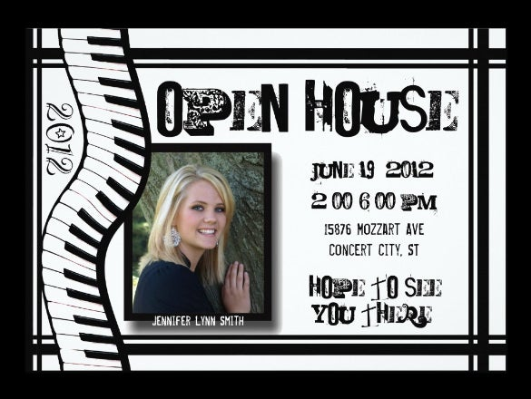music open house invitation template design