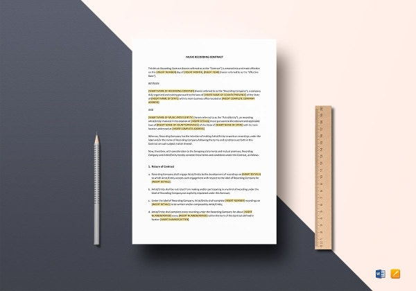 music recording contract template in word