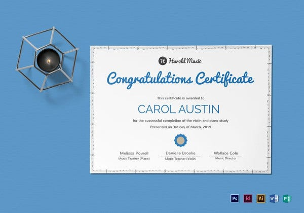 music training certificate template