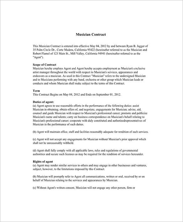 Booking Agent Contract Templates  Free Word Pdf Documents