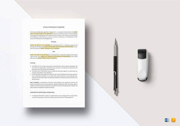 mutual confidentiality agreement template1