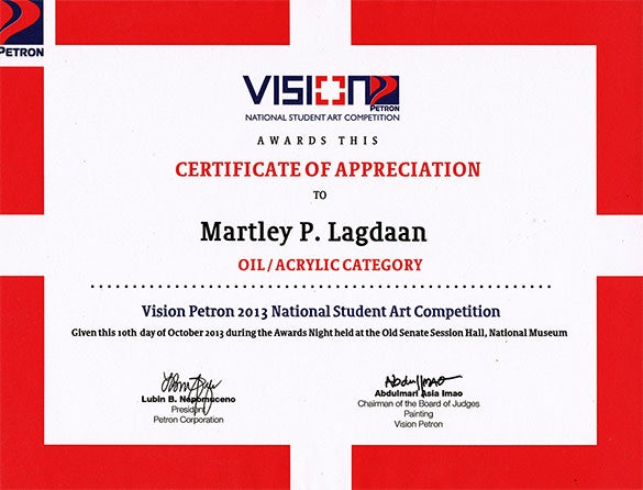 national achievement certificate for arts