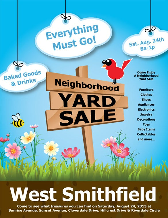 neighborhood yard sale business flyer template