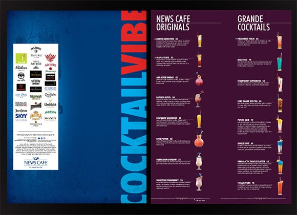 news cafe cocktail menu