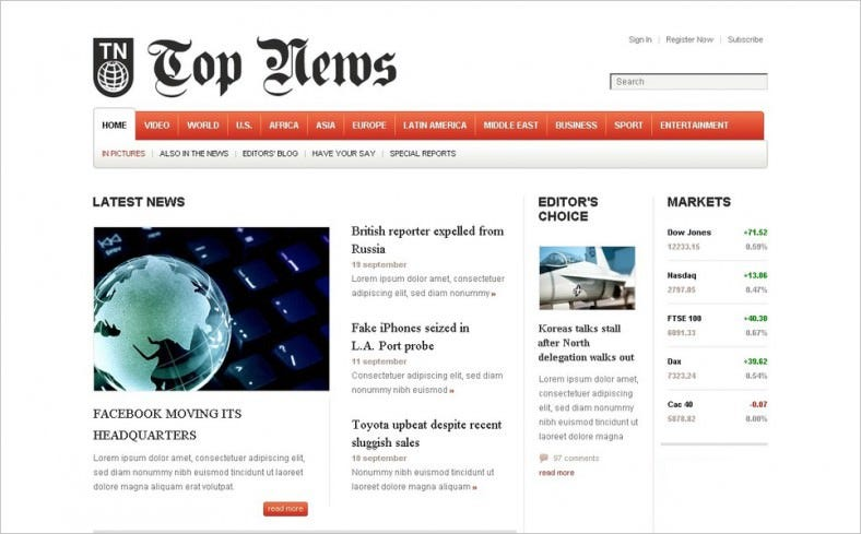 News Portal Blog Joomla Template