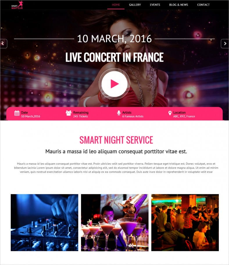 night club one page html template for parties 788x911