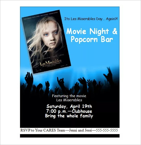 night movie party flyer template design free download