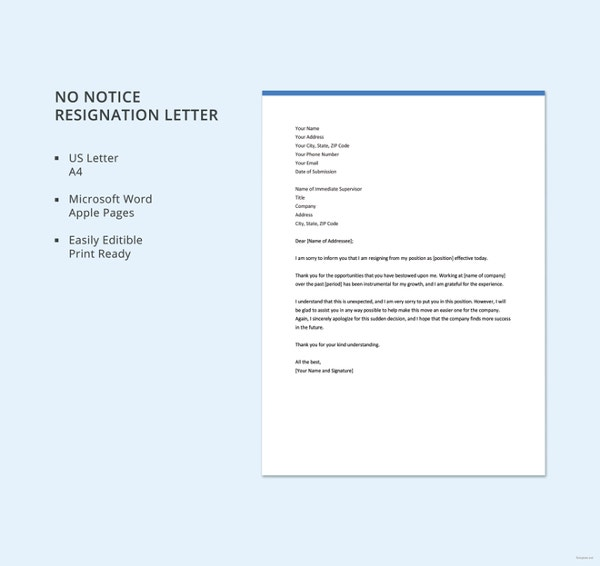 No-Notice-Resignation-Letter-Template  Days Notice Resignation Letter Template on proper 2 week, writing 2 weeks, one day, example 1 week, sample immediate,