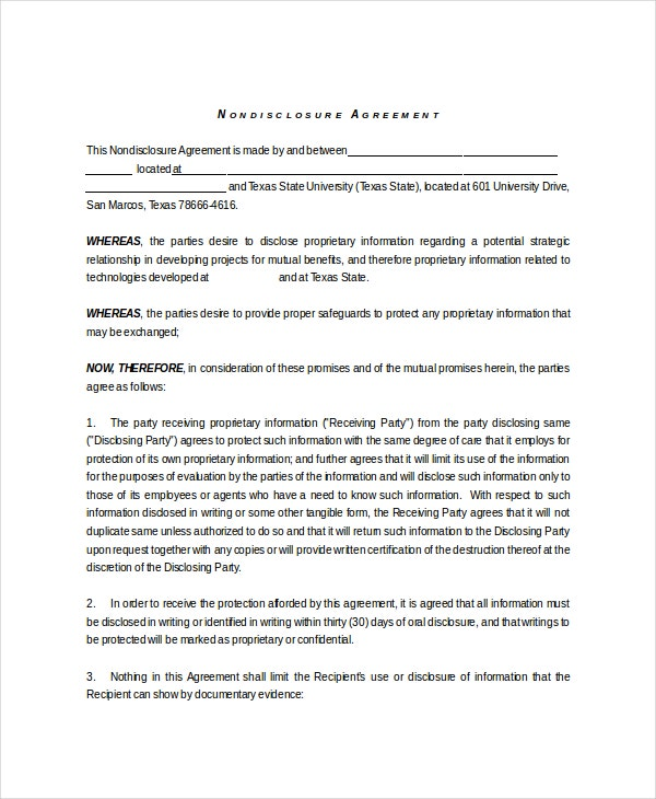 non disclosure and confidentiality agreement1