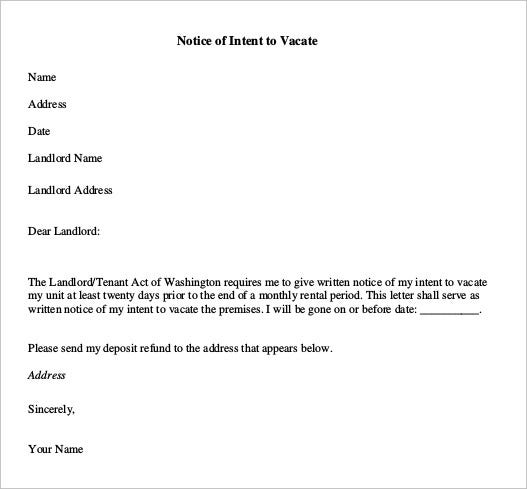 Notice Of Intent To Vacate Premises  Notice To Vacate Property Template