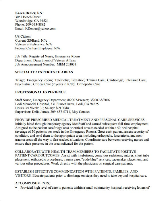 Nurse Federal Resume Template  Sample Federal Resume