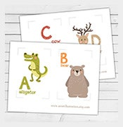 nursery a z animal alphabet flash card