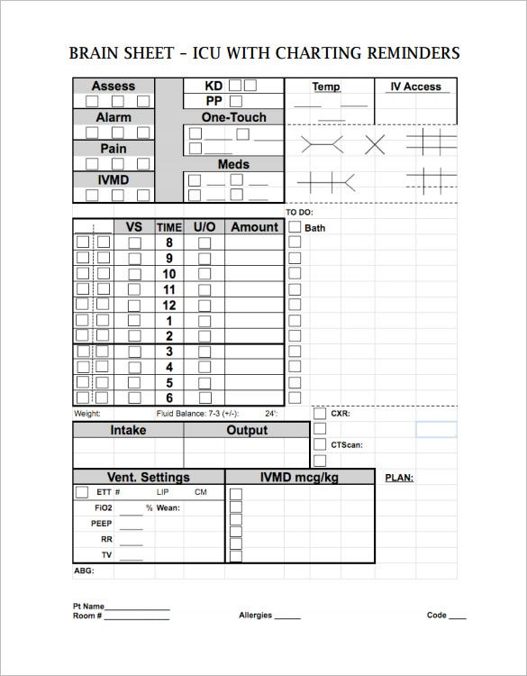 nursing worksheet brain sheet template download