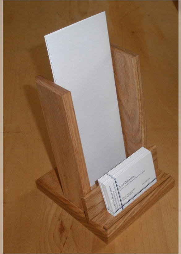 oak brochure holder business card holder