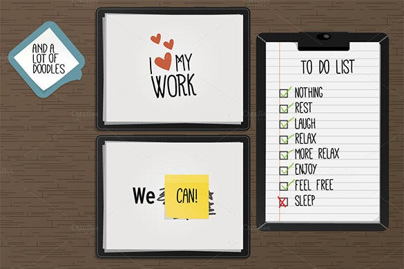 office kit bundle creative sticky notes template