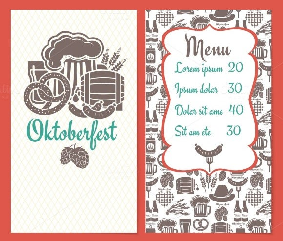 oktoberfest dinks menu template