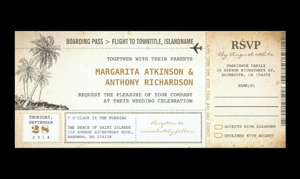 free boarding pass flight wedding invites