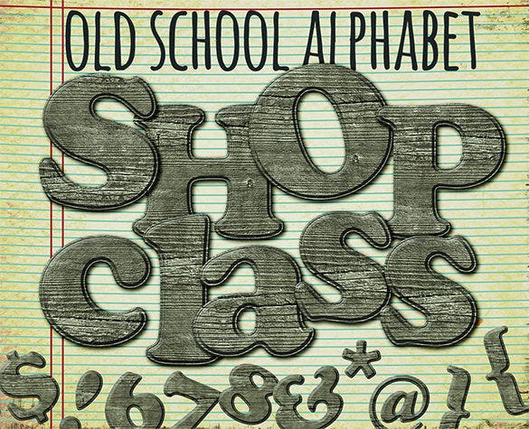 old school wood printable alphabet graphics