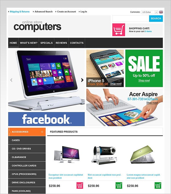 online computers store oscommerce template