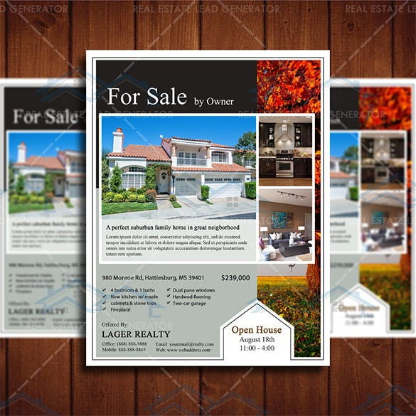 Stylish House For Sale Flyer Templates Designs Free - Open house ad template