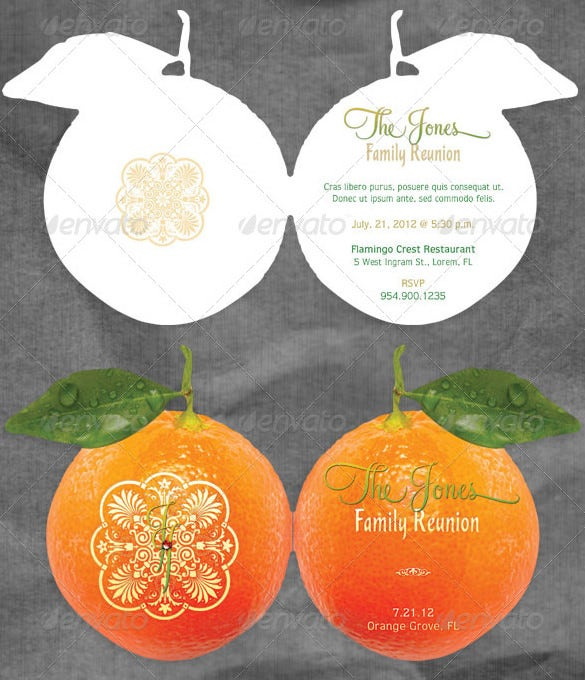orange shaped get together invitation card template vector eps