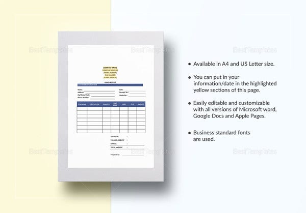 order receipt excel template
