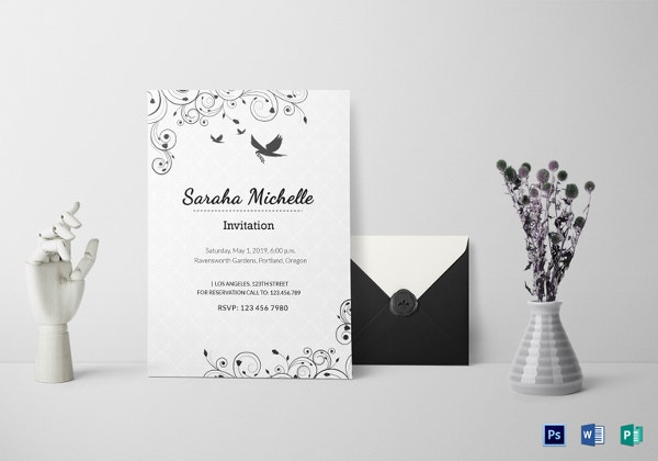 ornamental debut invitation template