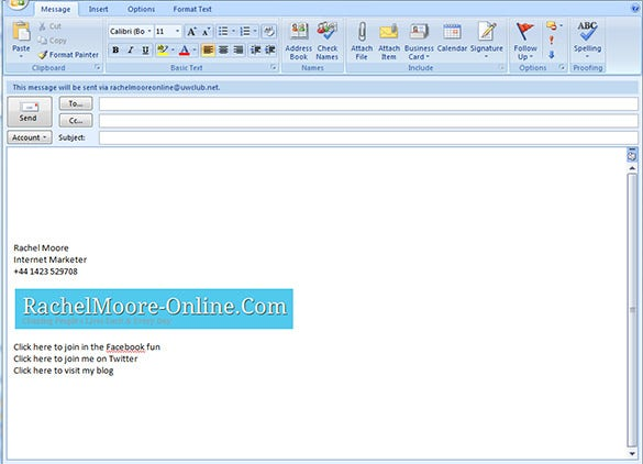 Outlook Email Signature Template For Internet Marketer