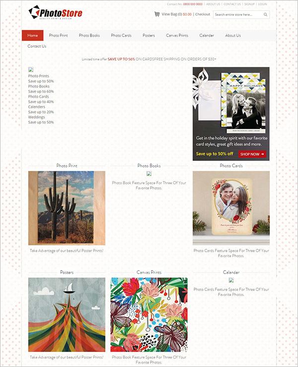 photo printing store magento theme