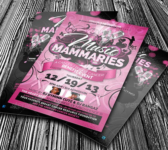 psd cancer fundraiser invitation template 6