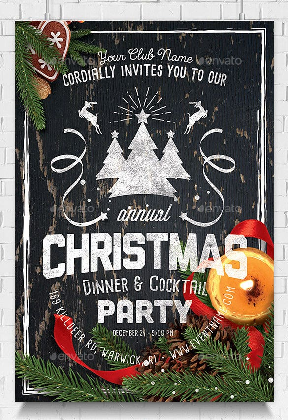 psd christmas family get together invitation template