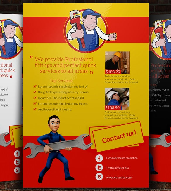 psd handyman plumber services flyer download