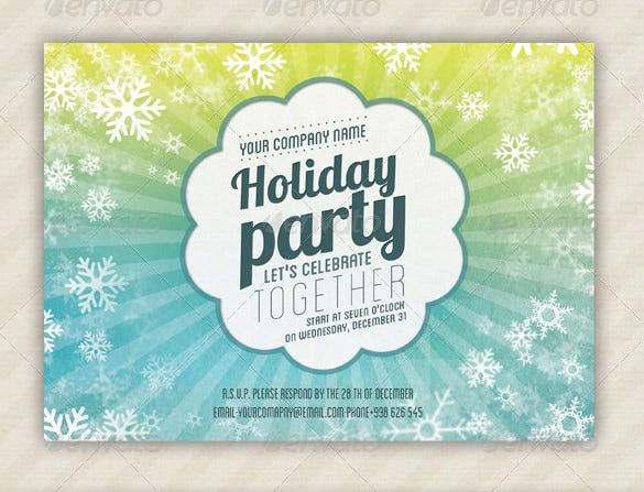 psd holiday party invitation template