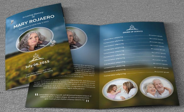 psd obituary event template