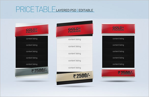 psd pricing table template set