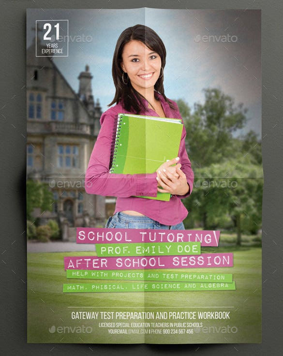 psd school tutoring flyer illustration download