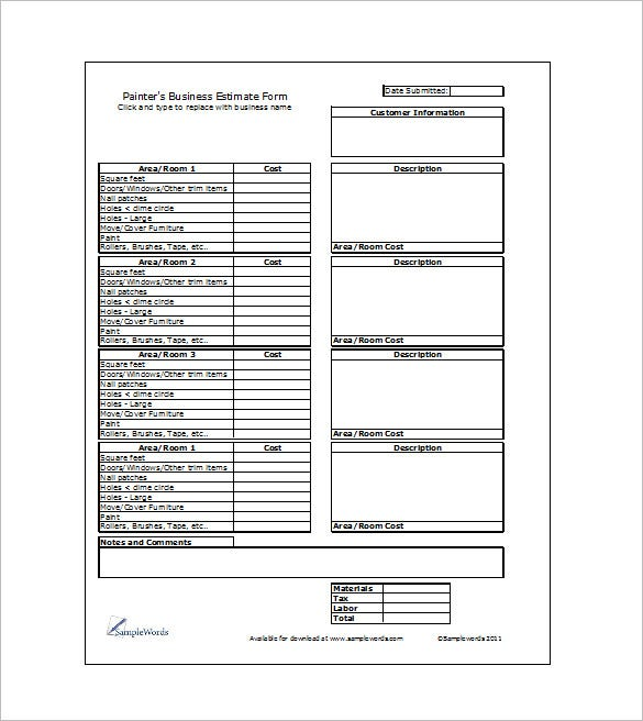 construction cost sheet template