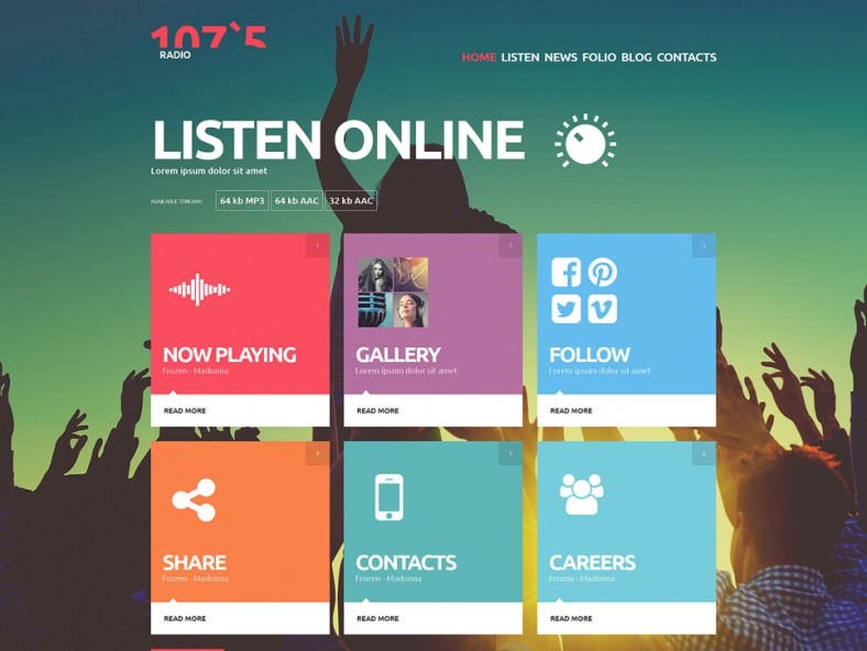 Parallax Background Online Radio Joomla Template