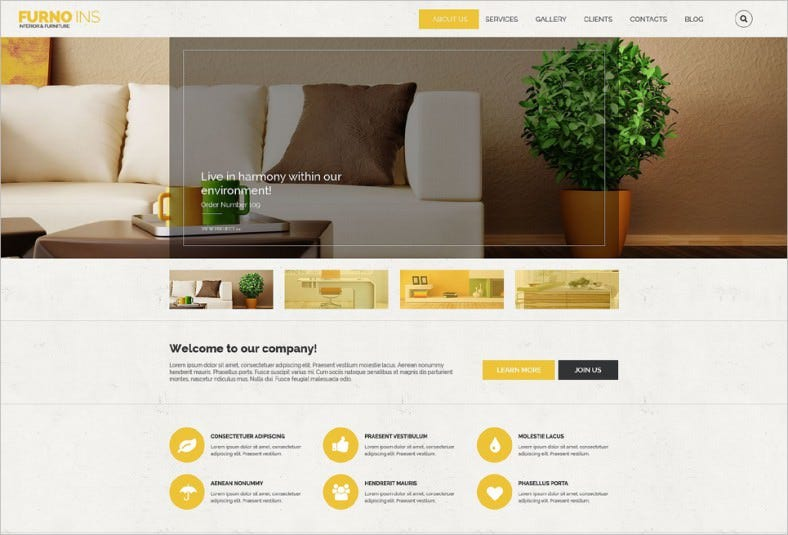 Parallax Effect Furniture Drupal Template