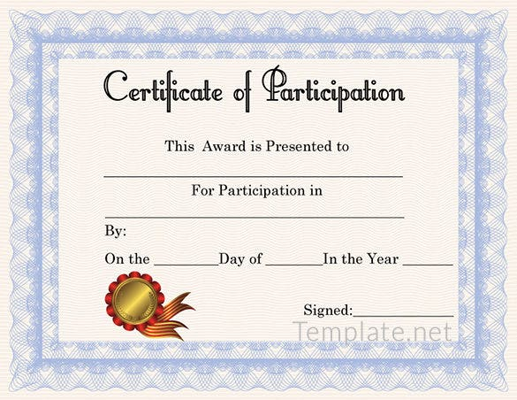 Certificate Of Participation Template Free Free Certificate Template 65 Adobe Illustrator Documents Download Free Premium Templates