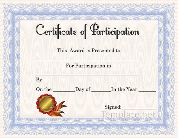 Participation award certificate templates datariouruguay yelopaper Choice Image