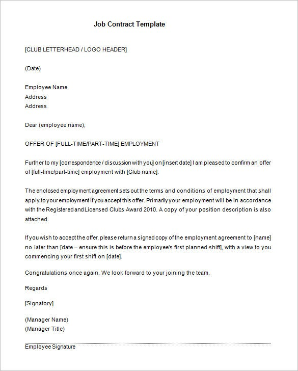 Elegant Parttime Job Contract Template Format Download