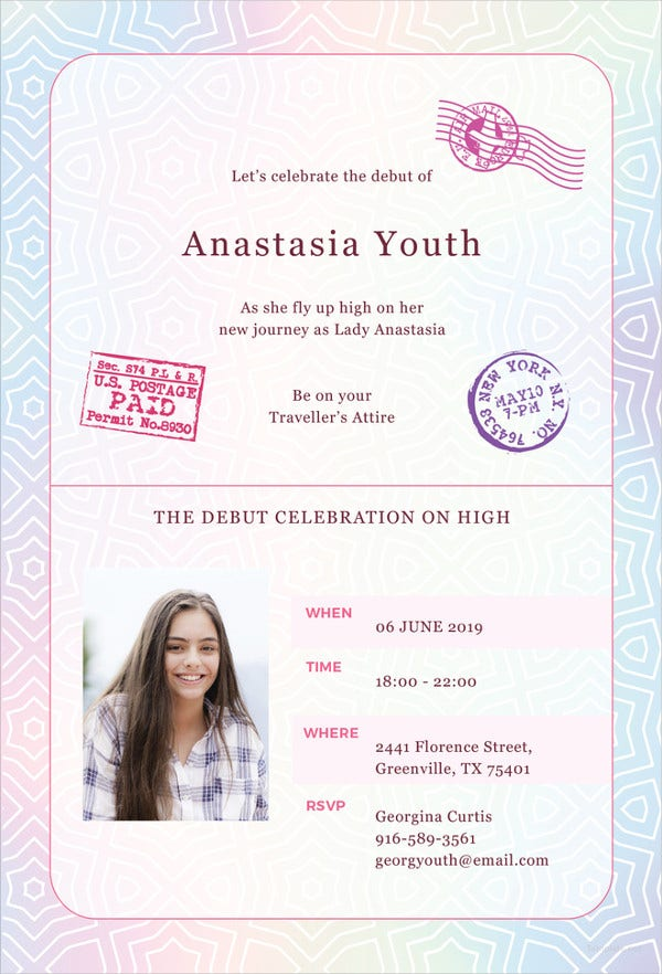 27 debut invitation templates psd ai vector eps free passport debut invitation template in illustrator stopboris Images