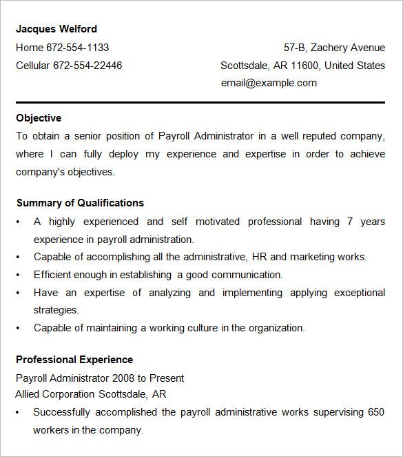payroll administration resume template - Payroll Administration Sample Resume